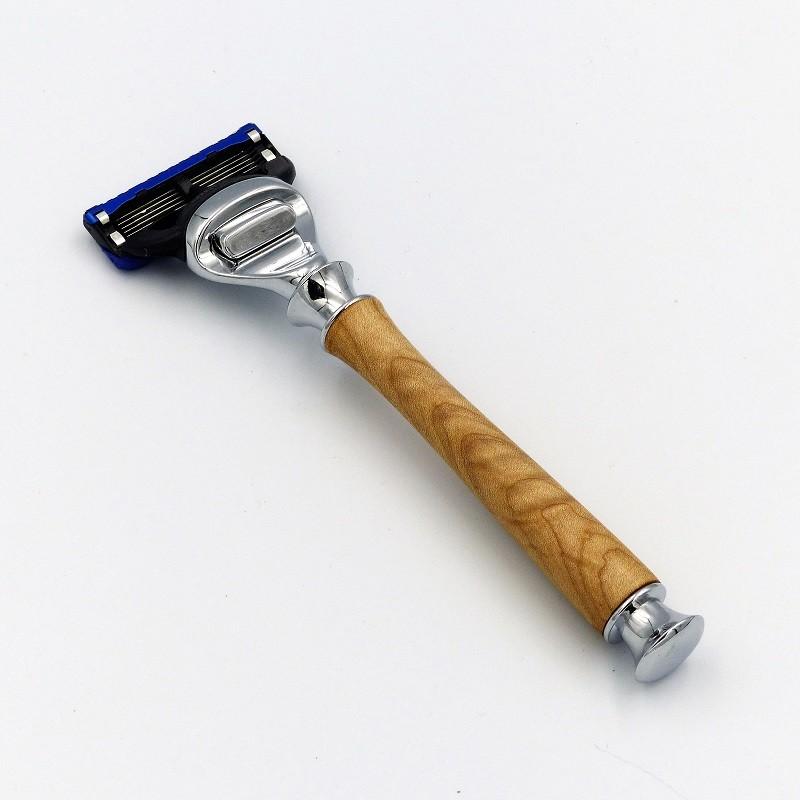 Rasoir avec manche  en bois d'érable ondé pour lame Gillette fusion 5