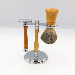Support avec rasoir en bois de lilas et blaireau en bois de buis