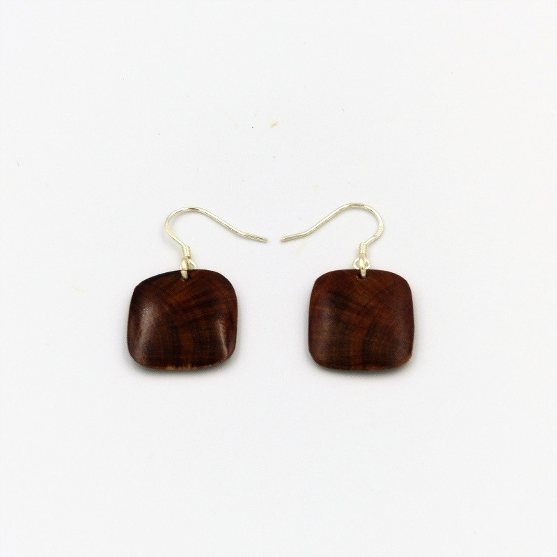 Boucles d'oreilles en bois de mirabellier
