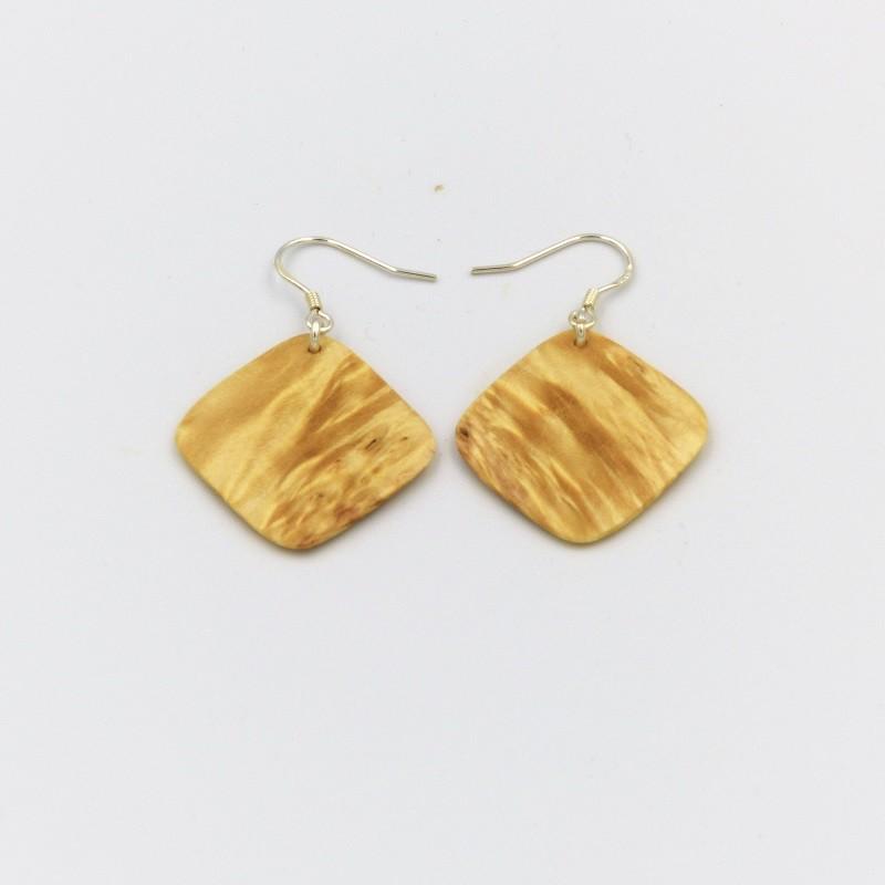 Boucles d'oreilles en bois de loupe d'érable