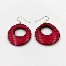 Boucles d'oreilles en bois de frêne teinté rouge