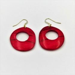 Boucles d'oreille en bois de hêtre teinté rouge
