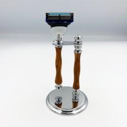 Support et rasoir (lame Gillette fusion 5) en bois d'olivier