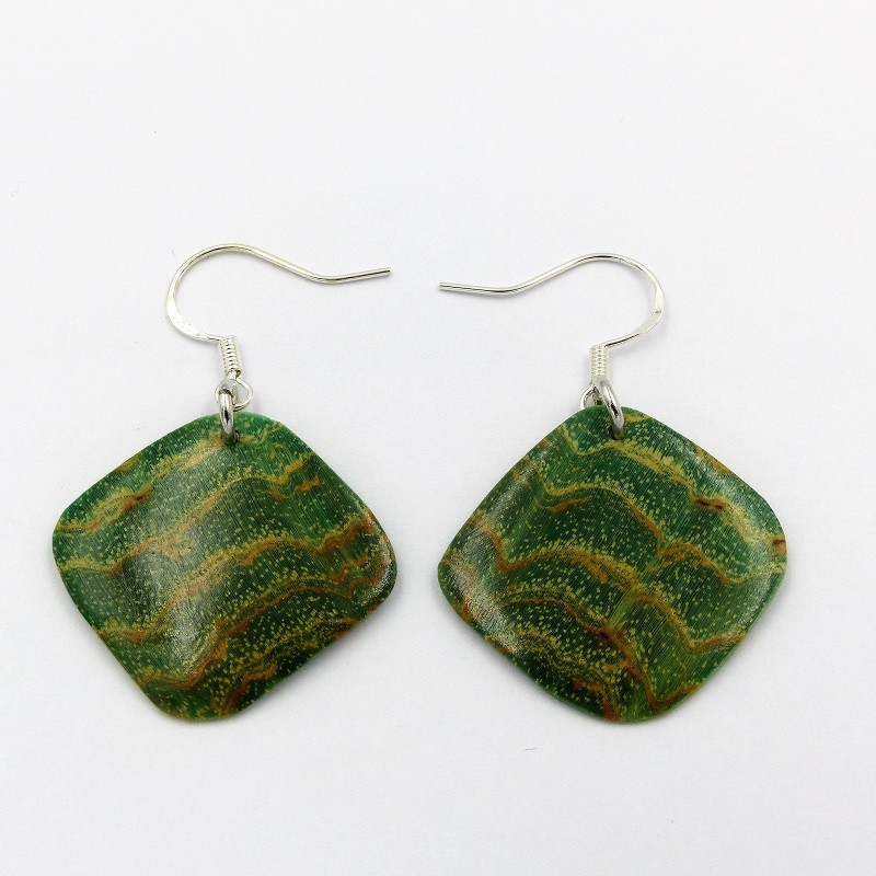 Boucles d'oreilles en loupe de frêne teintée en vert